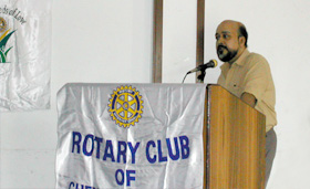 addressing the rotary club of chennai mid city